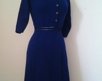 1930s early 40s Womens Blue Knit Dress size Small