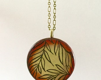 Orange and Tan Leaf Wood Pendant Necklace // Antique Brass Long Chain // Gift for Her