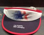 Vintage 1984 Los Angeles LA Summer Olympics YA Red White Blue Visor Hat Nwot Nos