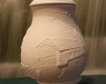 "Large, 13"", Covered Bridge, Country scene, Barn,Urn, Senic, Vase, Jar with lid, Kitchen container, Ready to paint, ceramic bisque, u-paint"