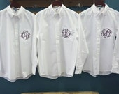 Set of 8 Personalized Bride and Bridesmaids Button Down Shirts - Monogrammed Oversized Shirts