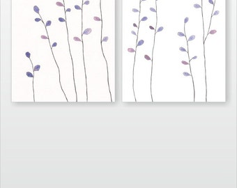 Minimalist nature themed art set. Simple abstract branches illustrations. Original watercolor painting. Light purple.