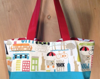NYC Tote bag- Cotton- New York City- Brooklyn- Bronx- Staten Island- Manhattan- by beckyzimmdesign