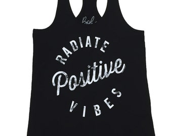 Racerback Tank, MEDIUM, Radiate Positive Vibes, Graphic Tanks for Women, Good Vibes Tank