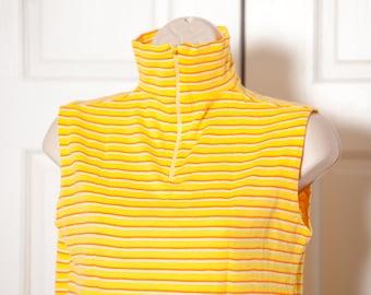 Vintage Sleeveless Turtleneck - yellow orange horizontal stripe
