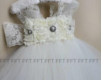 Ivory Lace Flower Girl Tutu Dress