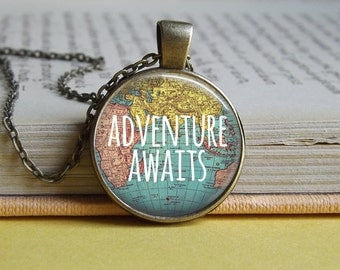 Silver or bronze 'Adventure awaits' map round glass dome pendant necklace (map, world, earth, travel, wander, wanderlust explore)