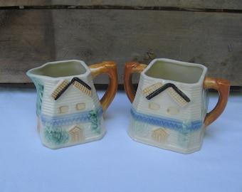Vintage Windmill Cream Sugar Set / Made in Japan / Serving Pieces / Vintage Kitchen Decor / Blue Kitchen / Blue Yellow Brown / Dinnerware