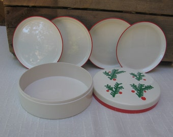 Vintage Himark Coasters, Coasters with Box, Set of FOUR, Red Green White Plastic Coaster