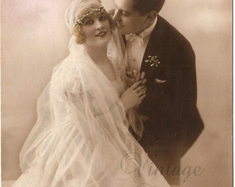 Beautiful Bridal Couple Bride & Groom Antique French Photo Postcard Wedding Post Card from Vintage Paper Attic