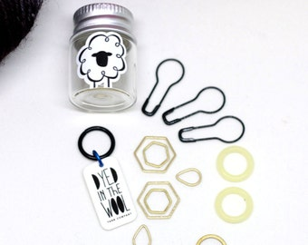 Notions Stitch Marker Set with Glass Jar - Knitters and Crocheters