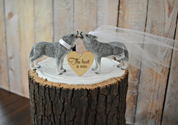 Wolf Wedding Cake Topper Howling Wolf Native By