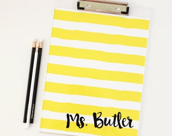 Teacher Clipboard Personalized School Supplies Monogram Teacher Gifts Black  Yellow Fun Office Supplies Desk Accessories Acrylic