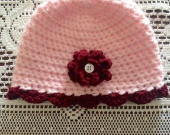 Baby Girl Flower Hat, Pink Baby Hat, Baby Girl Beanie, Crochet Baby Girl, Flower Hat, Spring Girl Hat, Button Flower