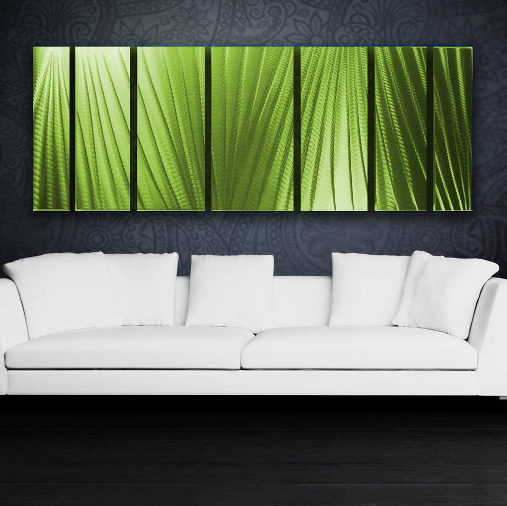 Green Metal Wall Art Panels Contemporary Aluminum Sculpture