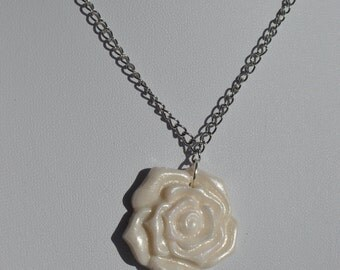 Frosted Rose Pendant Necklace