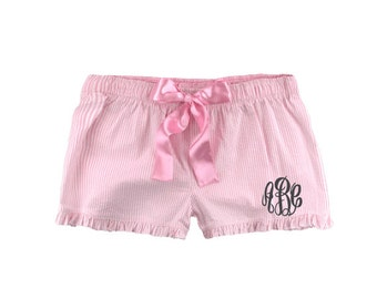 Monogrammed Seersucker Pajama Shorts - Candy Pink Personalized With Monogram or Name PJ Shorts - Women's Monogrammed Seersucker Boxer Shorts