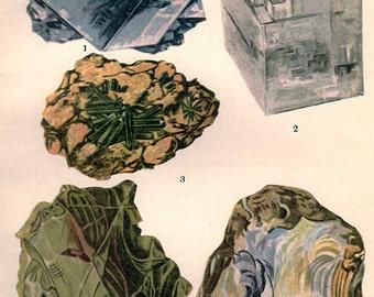 Vintage Antique Print 1911 MINERALS Crystals Prisms Gems Chart 10 precious minerals gem stones illustrations