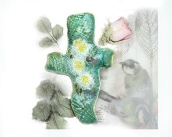 Ceramic Cross - Home Decor Cross - Cross for Wall - Decorated Art Wall Cross, housewarming gift,   # 134