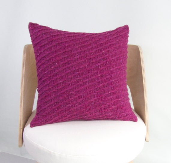 Knitting Pattern For Cushion Cover Chunky Wool : SALE Knit Wool Cushion Cover Chunky Knit Pink Wool Knit Pillow