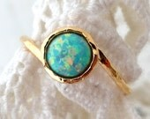 Opal ring, Mint Opal ring, Gemstone ring, Gold ring, Silver ring, Mint stone ring, October birthstone ring, dainty ring, stacking ring