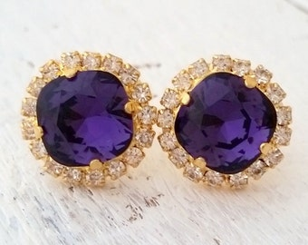 Deep purple earrings, purple crystal stud earrings, Purple Swarovski stud earrings, Bridal earrings, Purple Bridesmaid gift, gold or silver