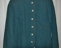 Vintage Ladies Dark Green Linen Jacket by Christopher & Banks Large Only 7 USD