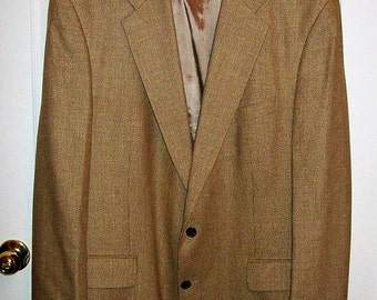 Vintage Men's Tan Silk Wool Linen Sport Coat Blazer Chaps by Ralph Lauren Size 48 T Only 15 USD