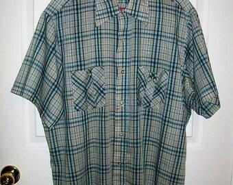 Vintage 1960s Men's Green Plaid Short Sleeve Shirt XL Only 7 USD