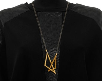 Geometric Necklace, Gold Necklace, Long Necklace, Triangle Necklace, NB020
