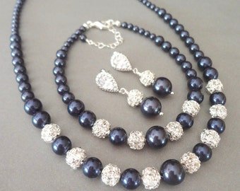 Navy blue pearl jewelry set - Swarovski pearls and crystals ~ 3 piece set ~ Pearl Bracelet,Earrings,Necklace, Bridal jewelry set, TOP SELLER