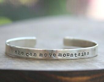 Cuff bracelet, hand stamped cuff, sterling silver cuff, sterling silver bracelet, hand stamped bracelet, graduation gift, inspirational