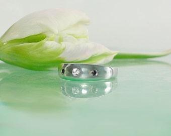 Unique Men's Wedding Band, Black Diamond Men's Band, Herkimer Diamond Men's Ring, Custom Made Men's Ring, Men's Statement Ring