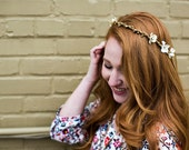 Gold and Ivory Floral Halo. Bohemian. Bridal Headpiece, Flower Crown, Wedding, fall, autumn, bridal hair accessories, Woodland