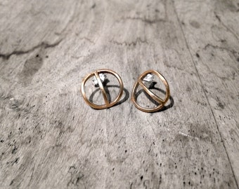 TYYNI Earrings Bronze or Sterling silver, hand carved circle recycled silver