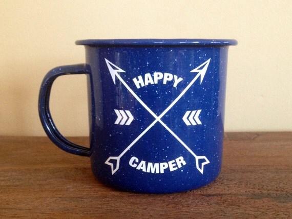 Enamel Mug | Happy Camper | Mug | Enamel Arrows Mug | Personalized Mug | Camping Mug