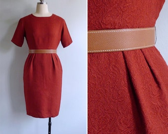 Vintage 60's 'Lady Danger' Red Embossed Floral Wiggle Pencil Dress XS or S