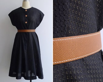 15% Code - MAR15OFF - Vintage 50's 'Shadow Play' Sheer Black Eyelet Dress with Peach Buttons M or L