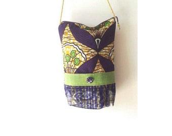 Ankara Batik Pub Bag / Genuine Dutch Batik Bag / Crossbody Batik Festival Bag / African Batik Purse / Purple Batik Shoulder Bag / Batik Bag