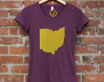 Ladies SUPER SOFT Vintage Feel Tee - 'Ohio State' on Maroon Scoop Neck TriBlend
