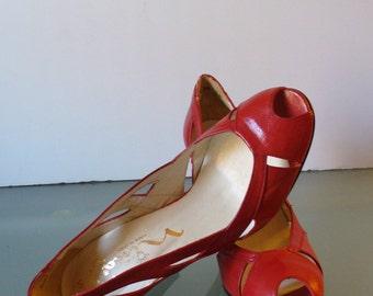Vintage Nina Candy Apple Red  Heels Made In Spain 5.5M