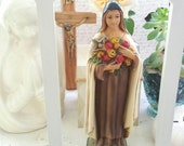 Vintage Sacred Saint Therese Of Lisieux The Little Flower Statue Religious Chalkware - FREE DOMESTIC SHIPPING