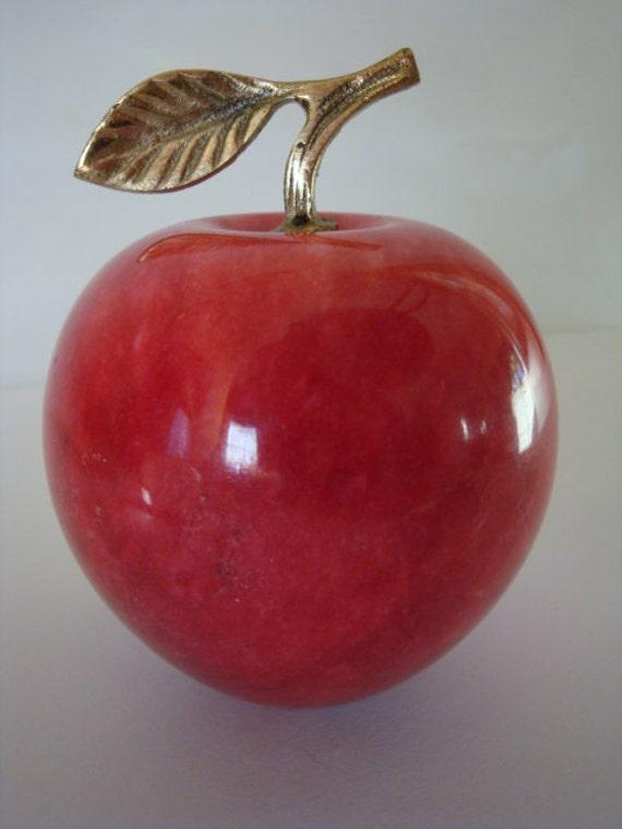 Alabaster Red Apple Paperweight Decor Teacher