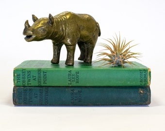 Brass Rhino Statue / Figurine / Paperweight,  Mid Century Home Decor
