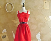 Vintage 1960s Hot Red Bali Lace Cotton Dress - Feel The Heat-