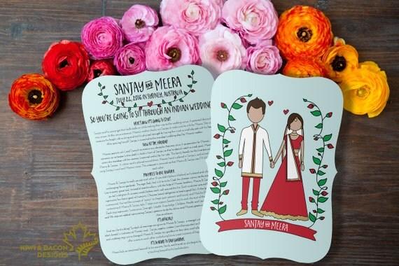 Indian Wedding Program Boho Indian Printable Hindu