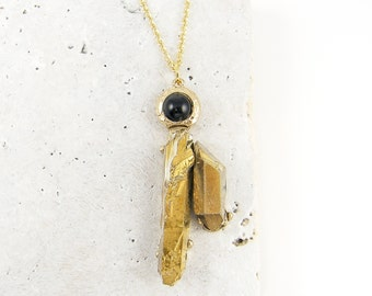 Gold Druzy Necklace, Black Gold Necklace with Black Bead on Gold Chain Faux Gemstone Pendant |GN1-8
