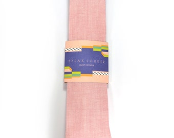 Wedding Mens Tie blush pink linen tie- Laid-Back necktie