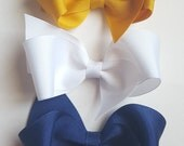 navy mustard and white hair bows- baby toddler girls boutiques hair bows--baby shower gift ideas