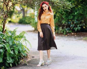 Vintage 50s Brown Skirt Square Print Tied Midi Skirt